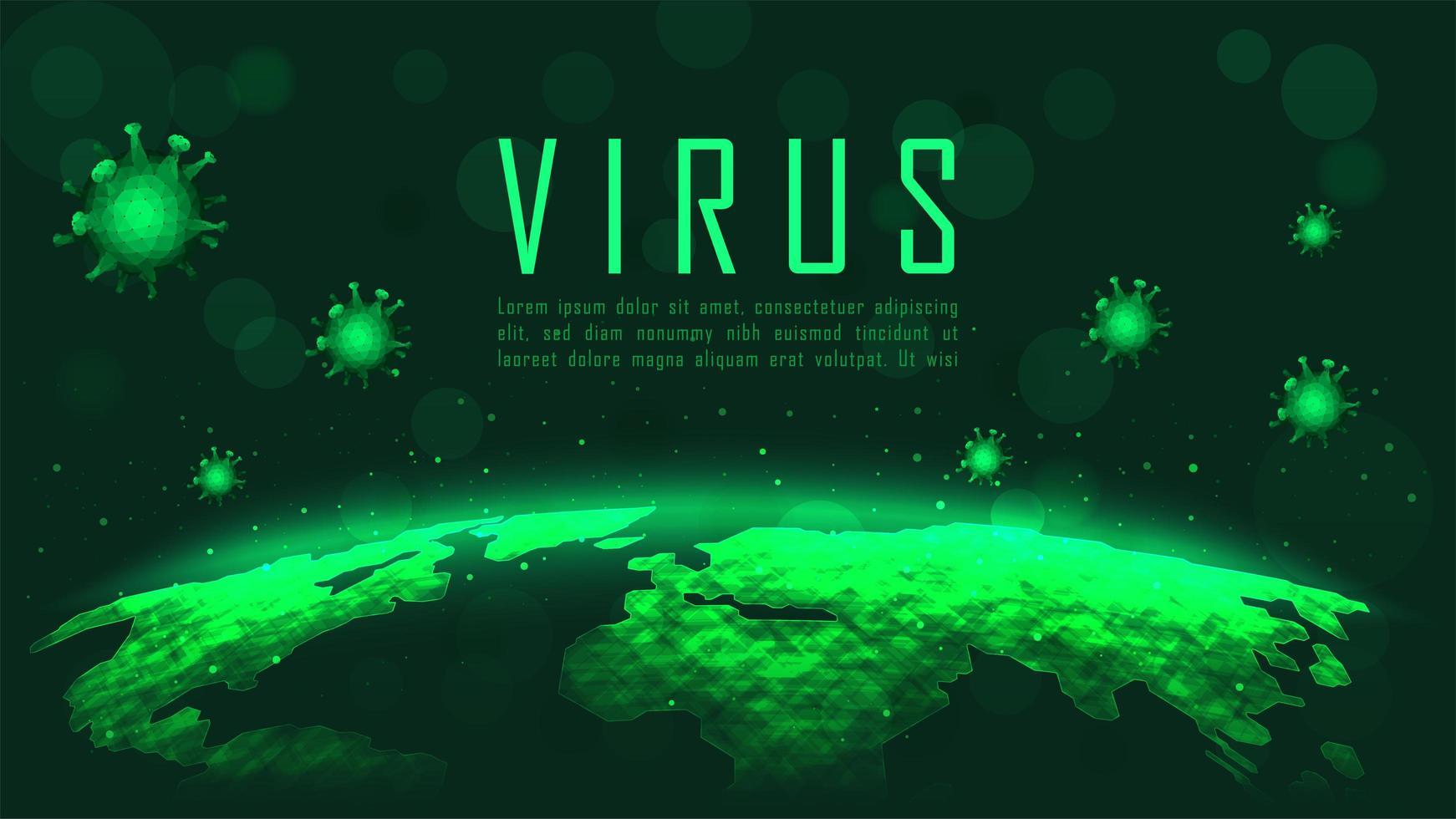 globales Pandemieplakat des grünen Coronavirus vektor