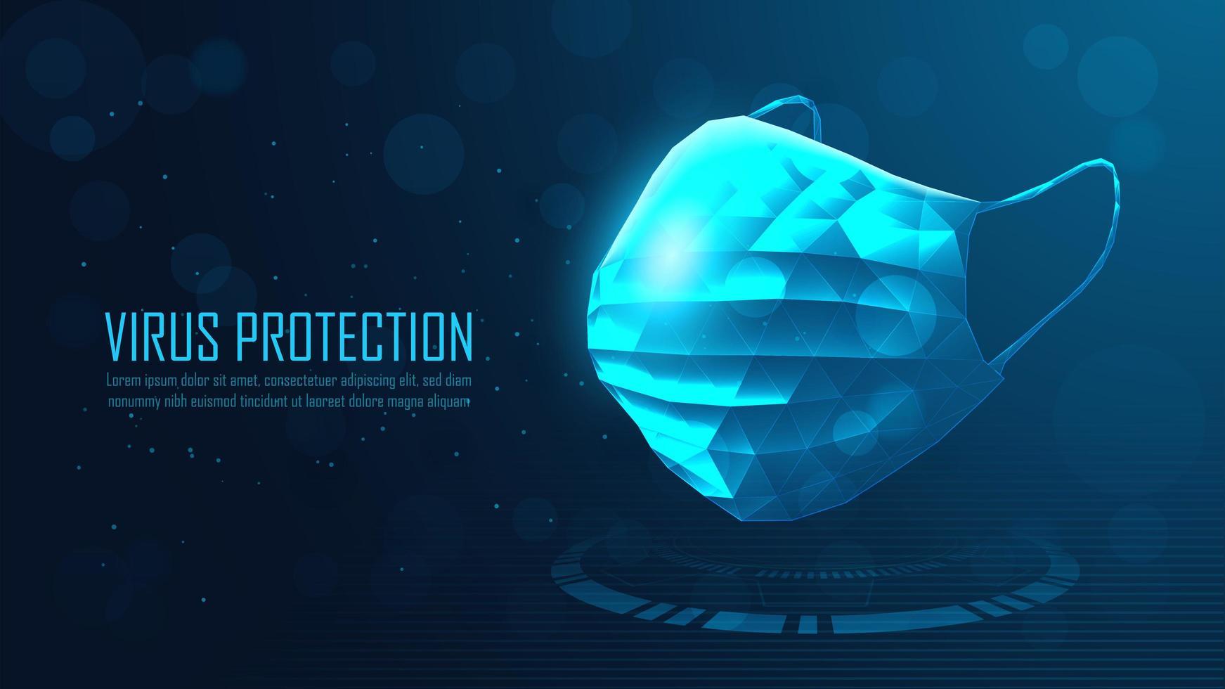 chirurgisches Maskendesign des leuchtend blauen Polygons vektor