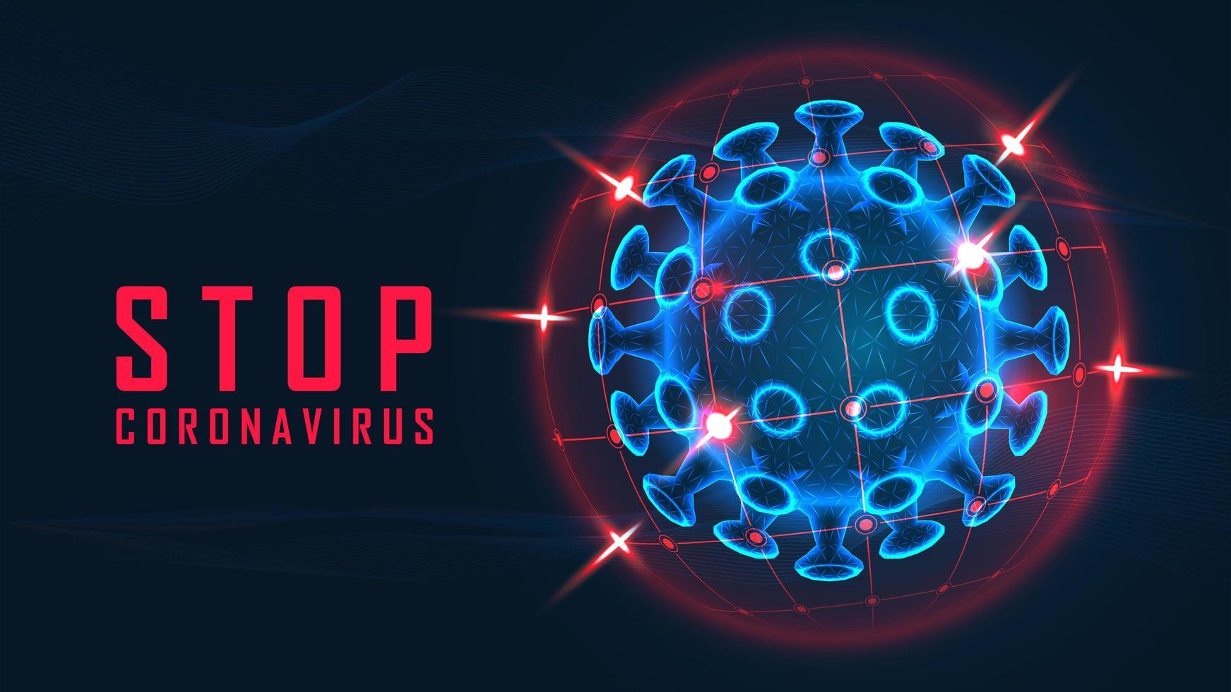 stoppa coronavirus grafik med blå cell i röda världen vektor