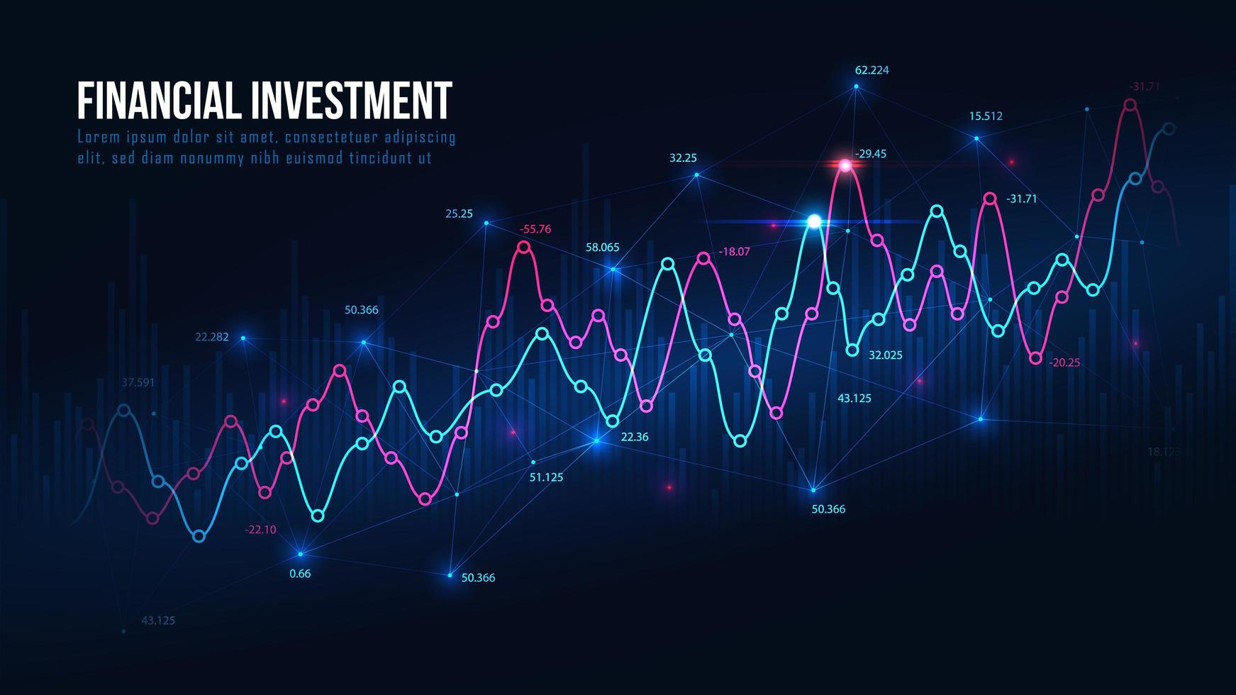 futuristischer Aktienmarkt- oder Devisenhandelsgraph vektor