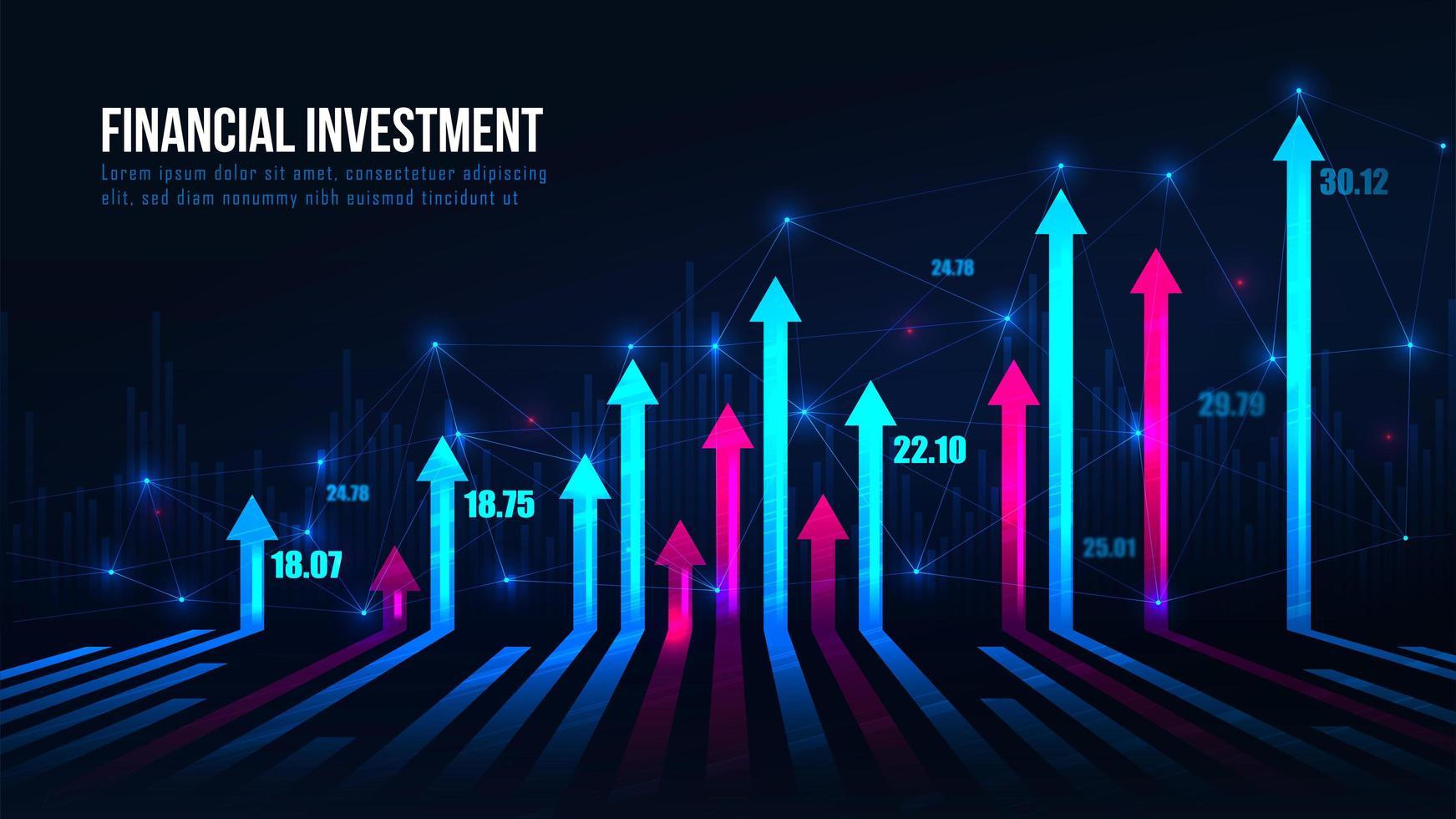 Aktienhandelsdiagramm Pfeile im Aufwärtstrend vektor