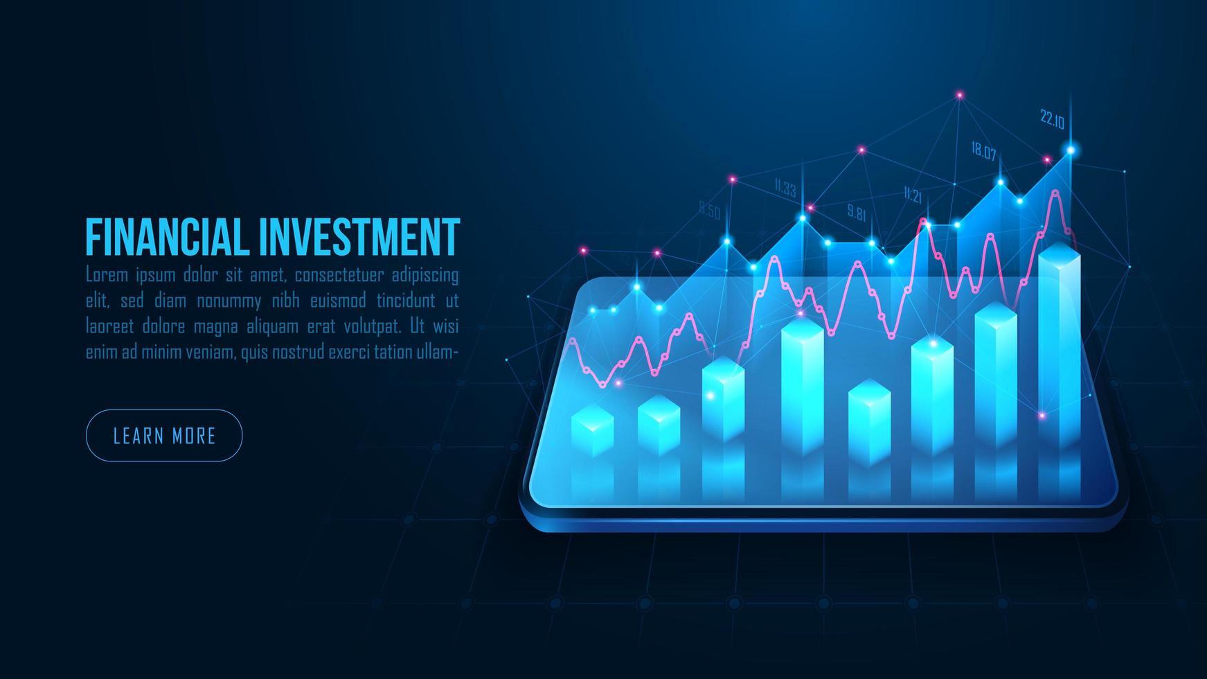 isometrische Aktien- oder Devisenhandelsgrafik auf dem Smartphone vektor
