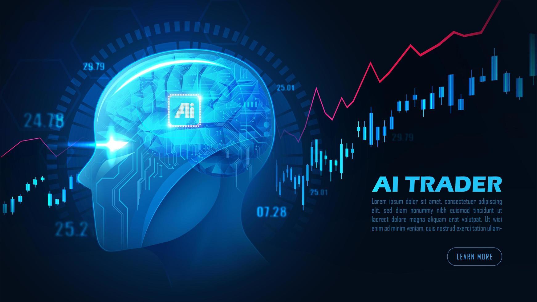 bild av handlarhuvud för konstgjord intelligens vektor