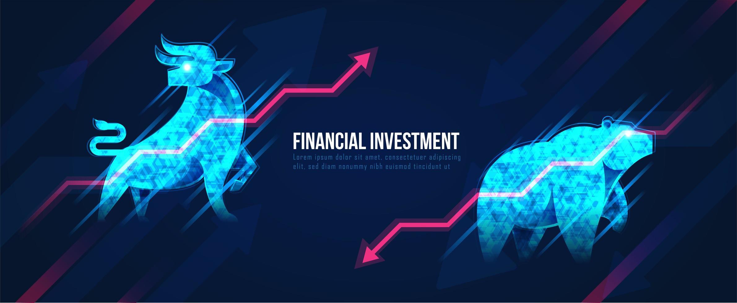konceptkonst för hausse och baisseartad aktiemarknad vektor