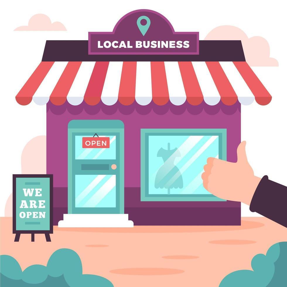 stödja lokal affärsdesign med butik och tummen upp vektor