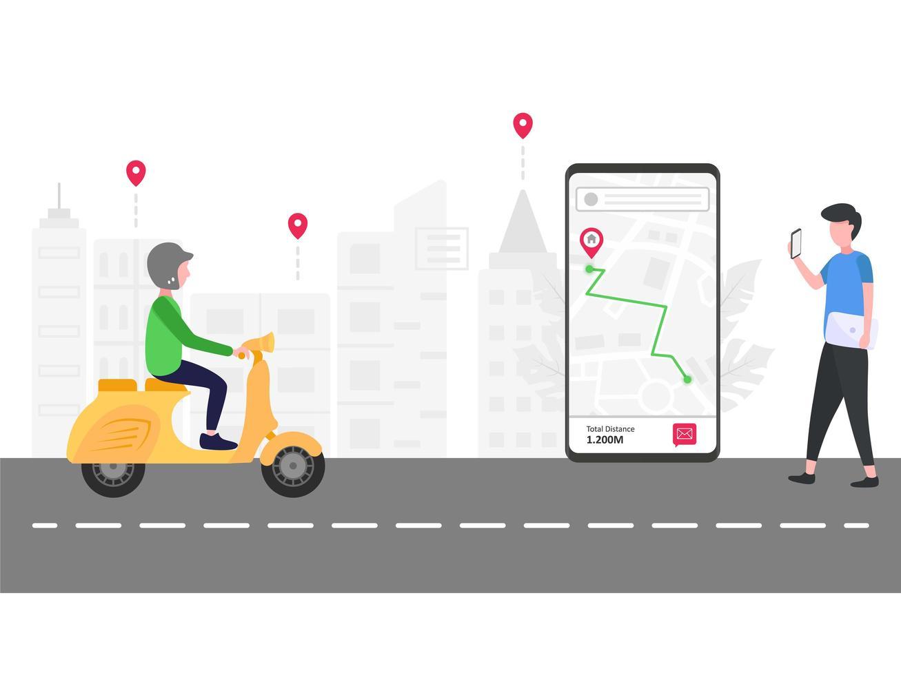 man spårar online-transport på smartphone vektor