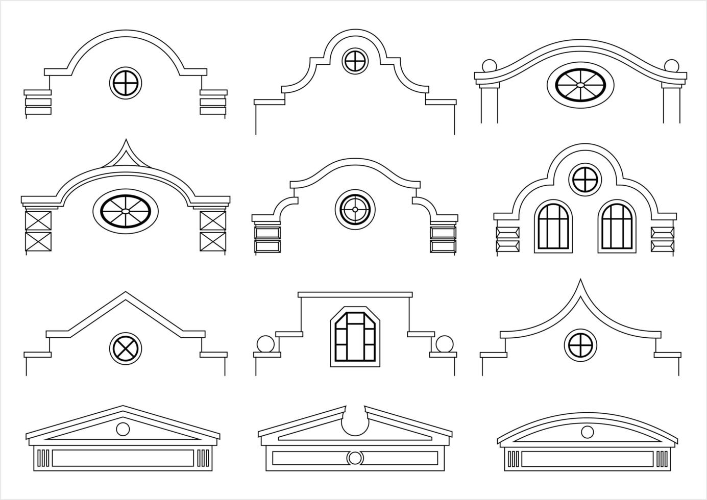 uppsättning klassiska vintage fasader vektor