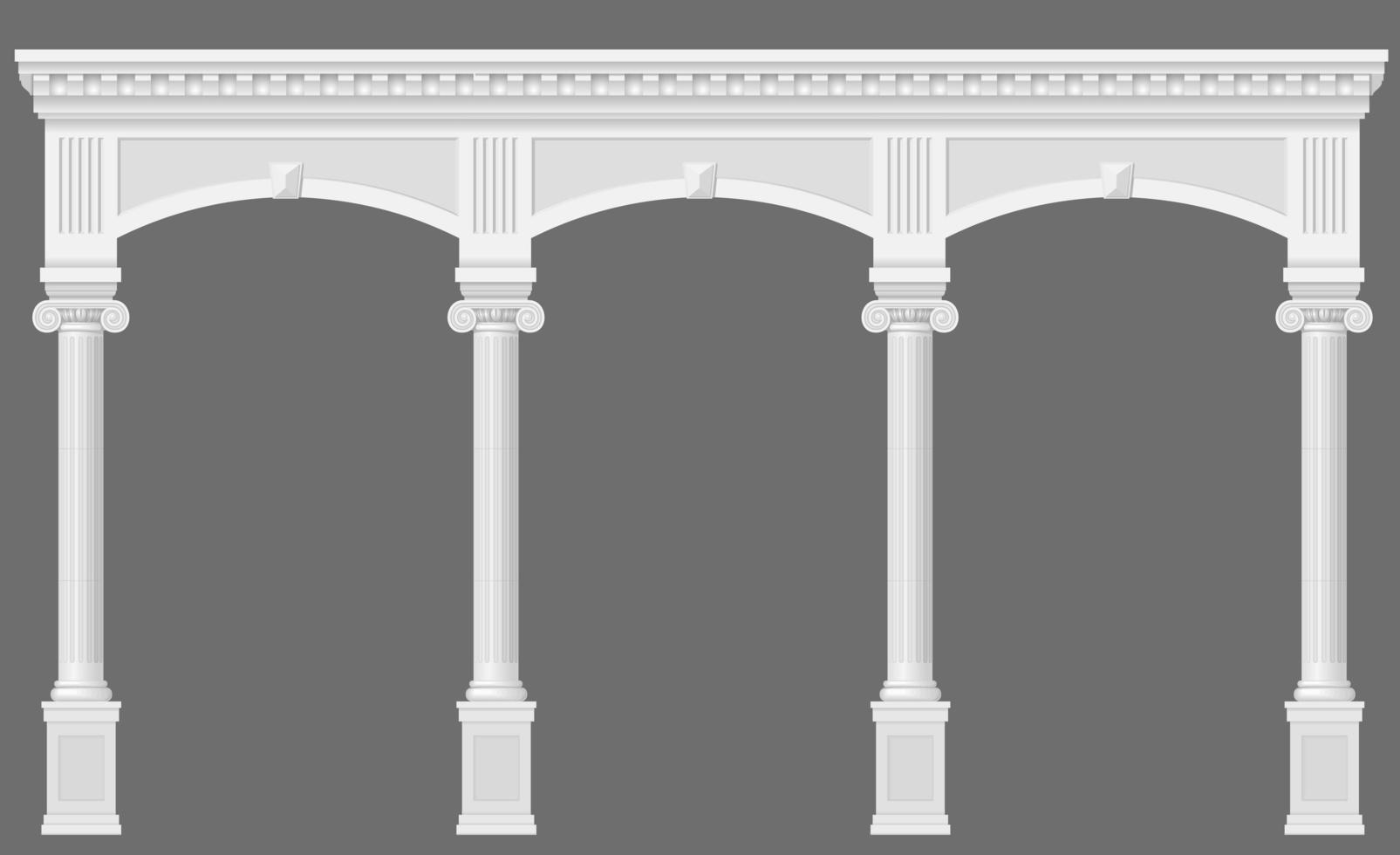 antik vit kolonnad med bågar vektor