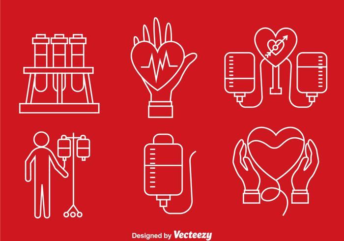 Blod donation linje ikoner vektor