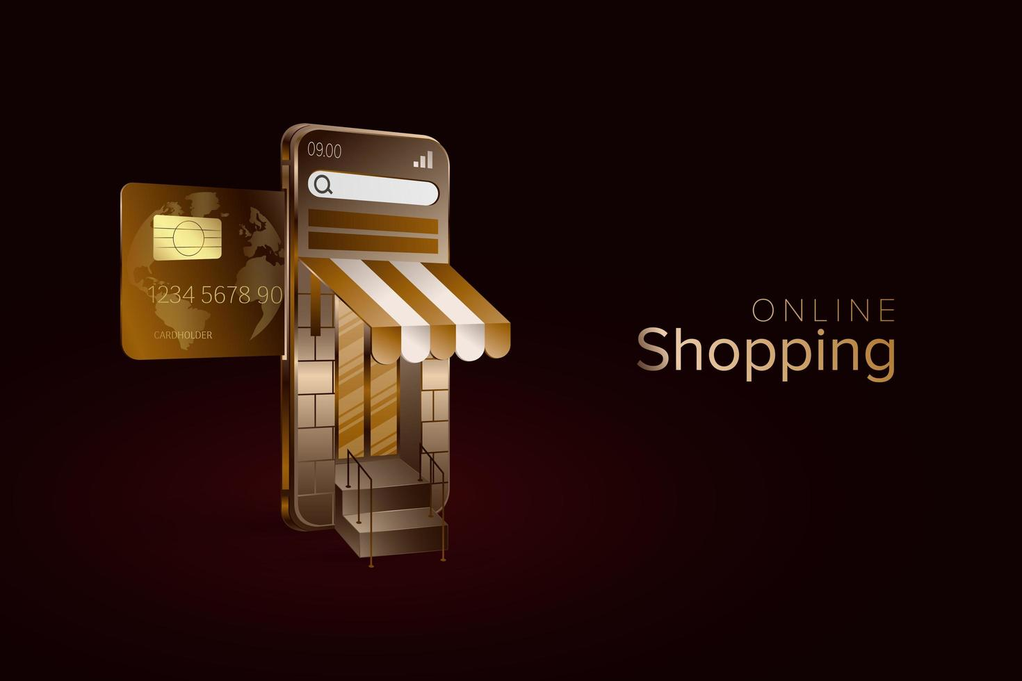 golden glänzende Online-Shopping-Landingpage vektor