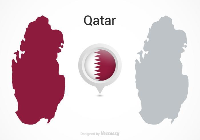 Free Vektor Katar Flagge Karte Zeiger