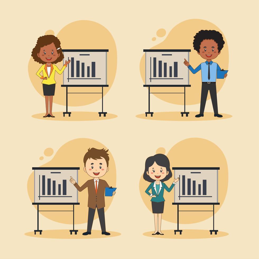 uppsättning affärsmän och kvinnor som presenterar vektor