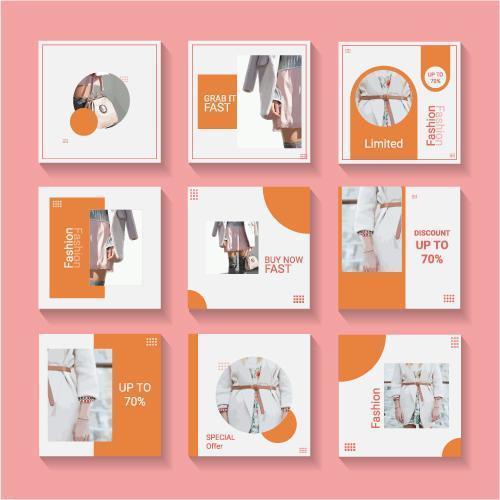 Social Media Orange und Weiß Template Set vektor