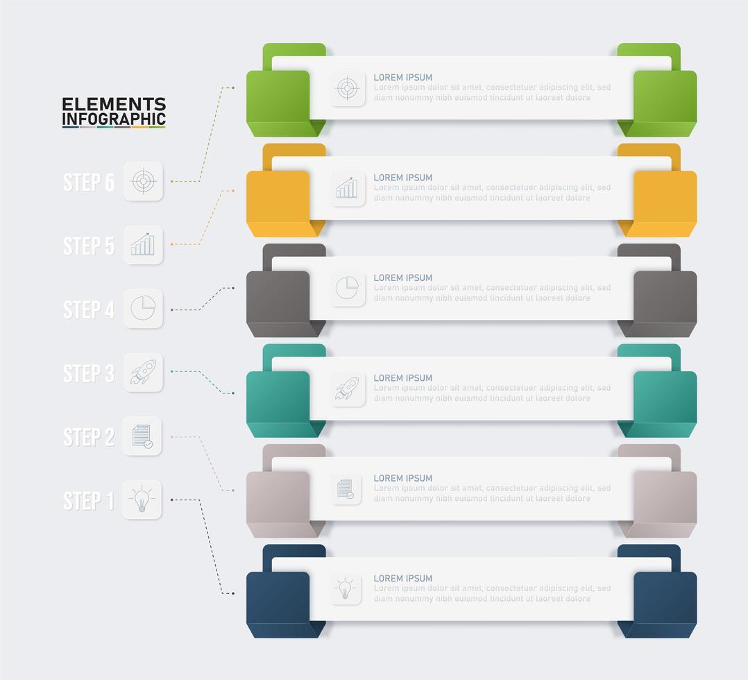 bunte Hakenart-Infografik mit 6 Schritten vektor