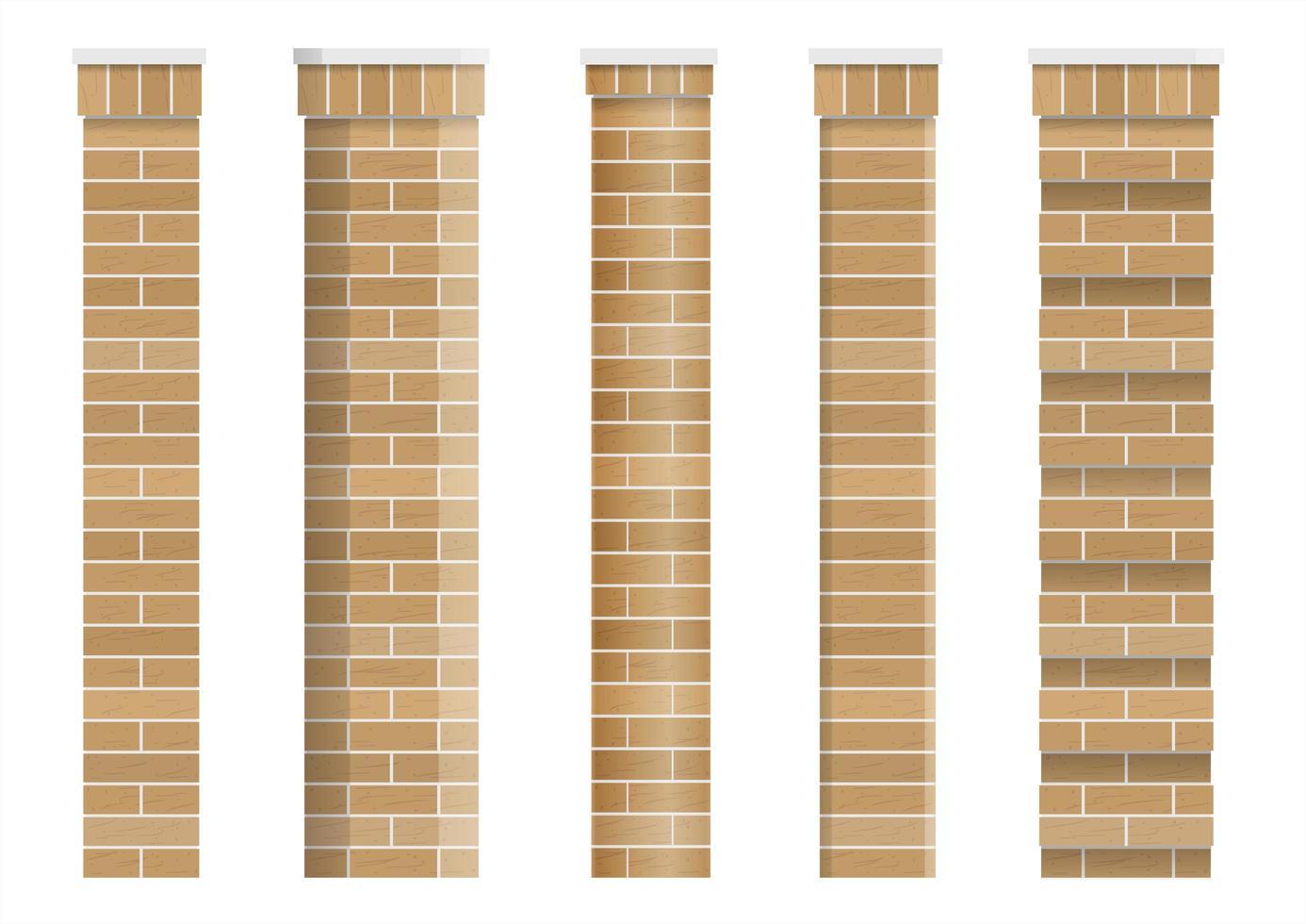 Satz von Texturen von klassischen Ziegelsäulen vektor