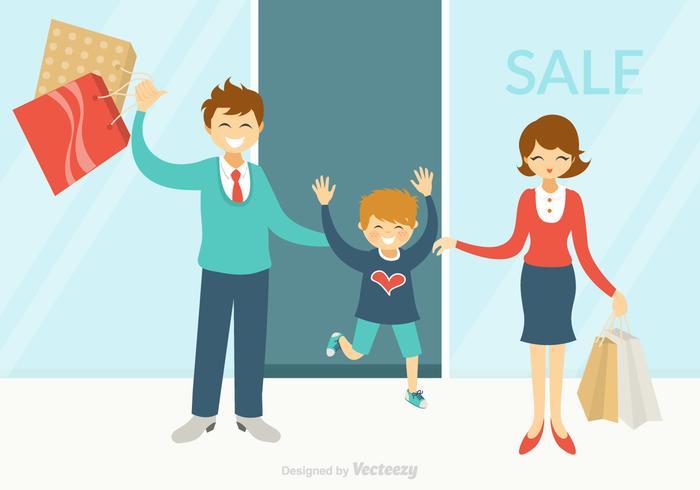 Kostenlose Happy Family Shopping Vektor