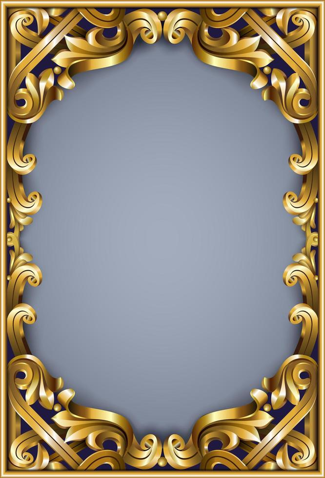 gyllene klassisk rokoko ram vektor