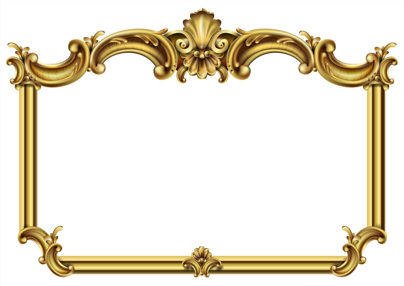 horisontell gyllene klassisk rokoko barock ram vektor