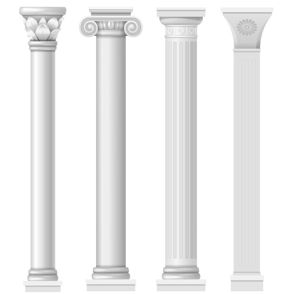 uppsättning antika klassiska kolumner vektor