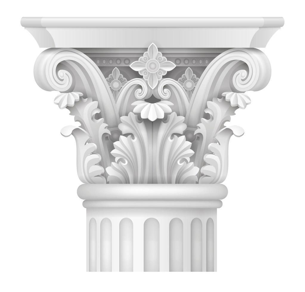 den vita huvudstaden i den korintiska kolonnen vektor
