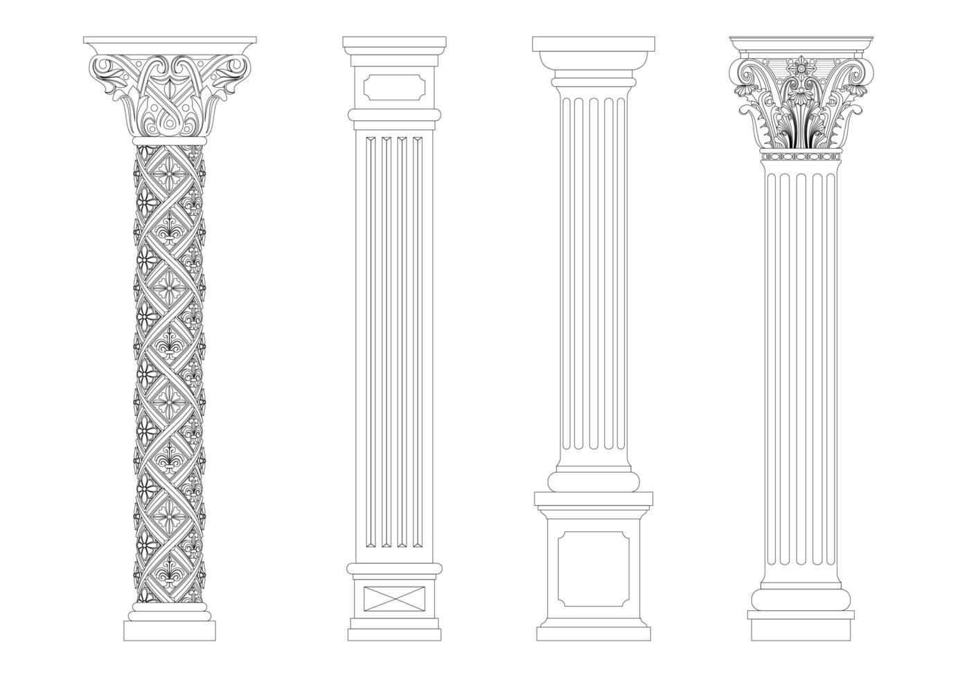 klassiska kolumner i konturstil vektor
