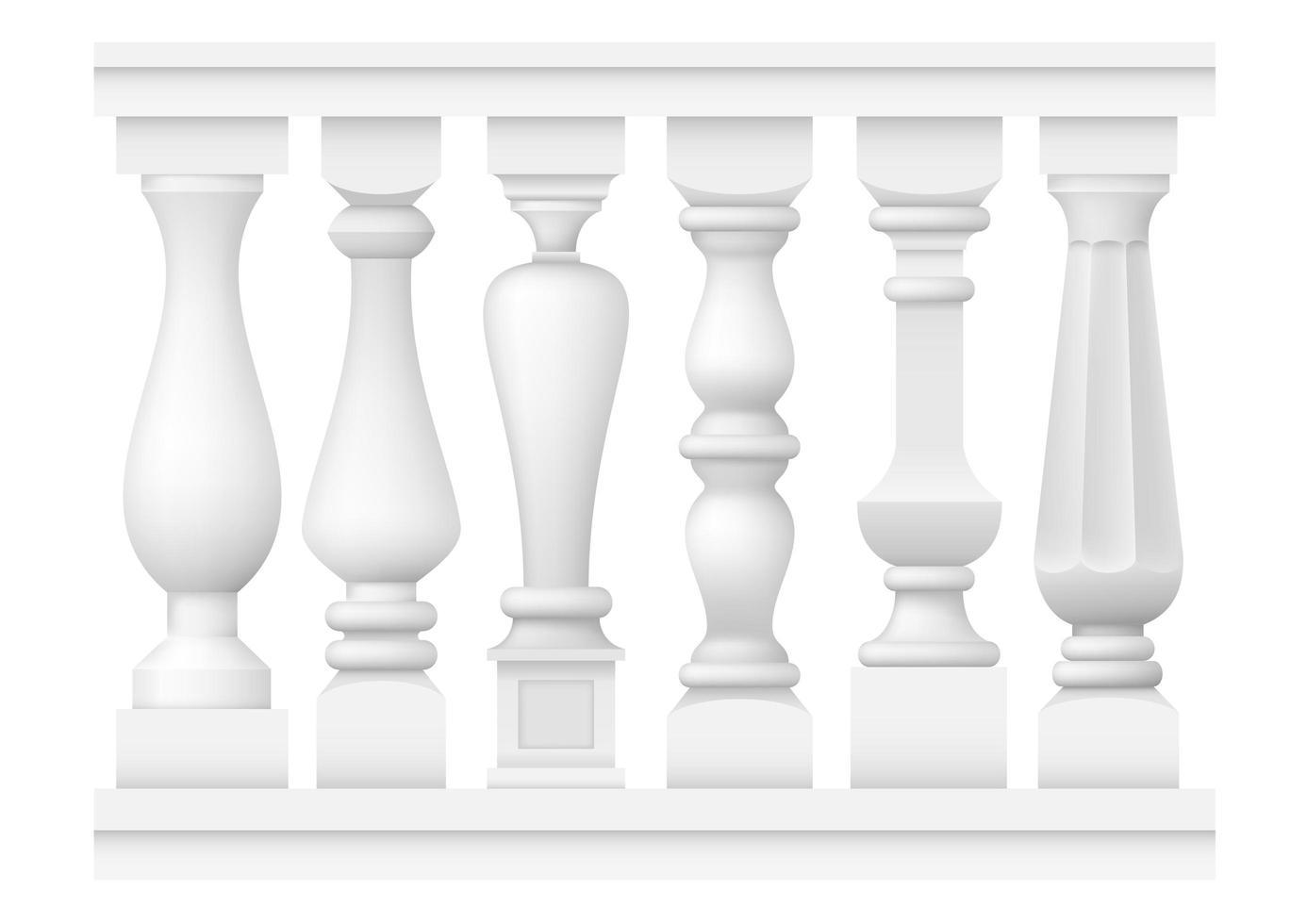 eine Reihe von verschiedenen klassischen Balustern vektor
