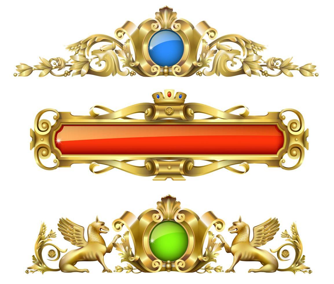 klassisches architektonisches Golddekor-Set vektor
