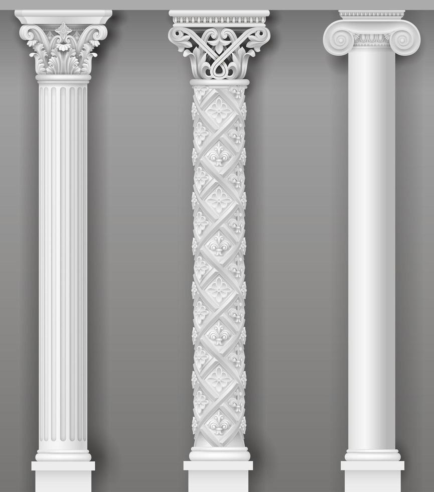 klassische dekorative antike weiße Säulen vektor