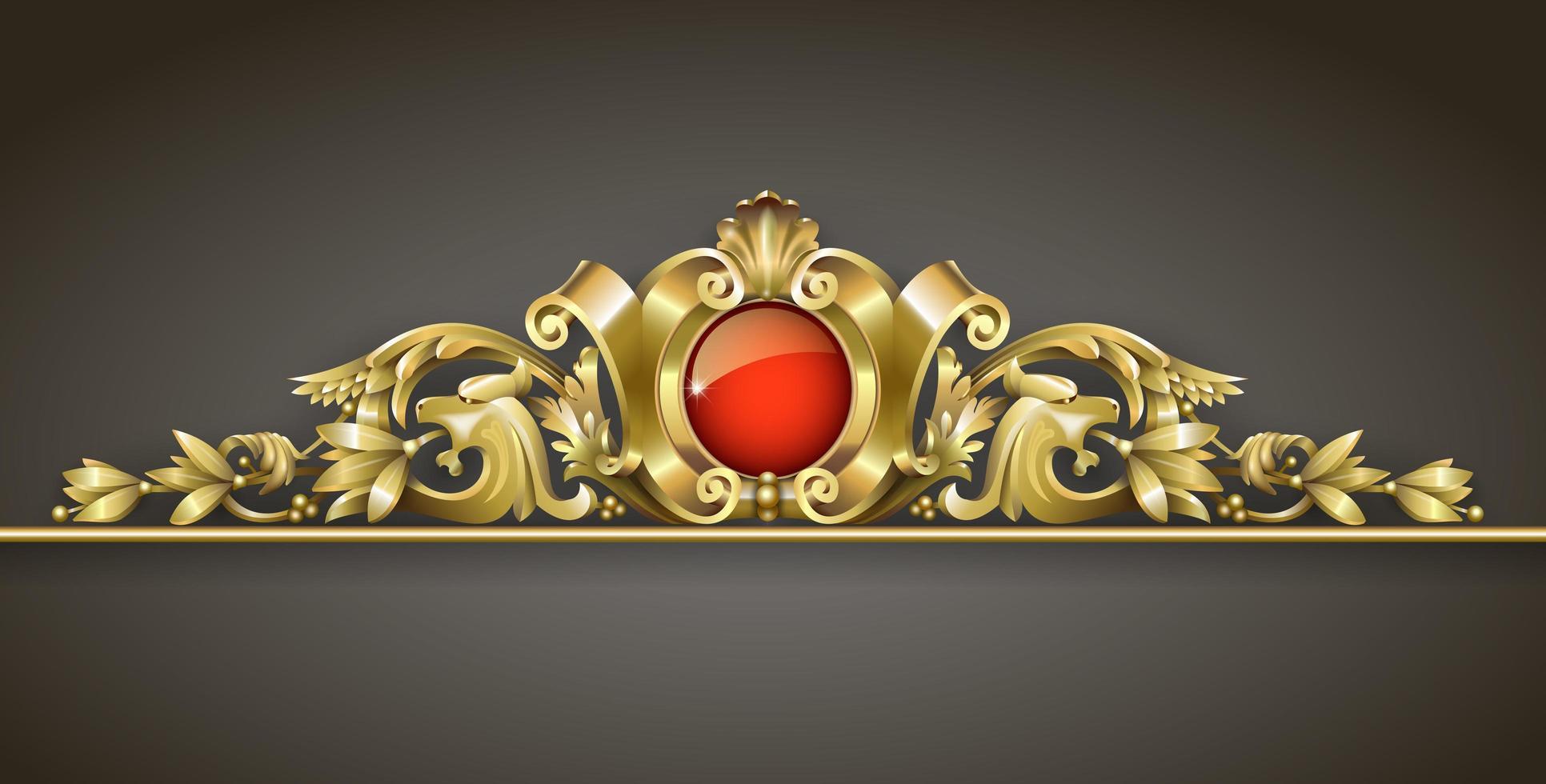 klassisk guldprydnad med röd juvel vektor