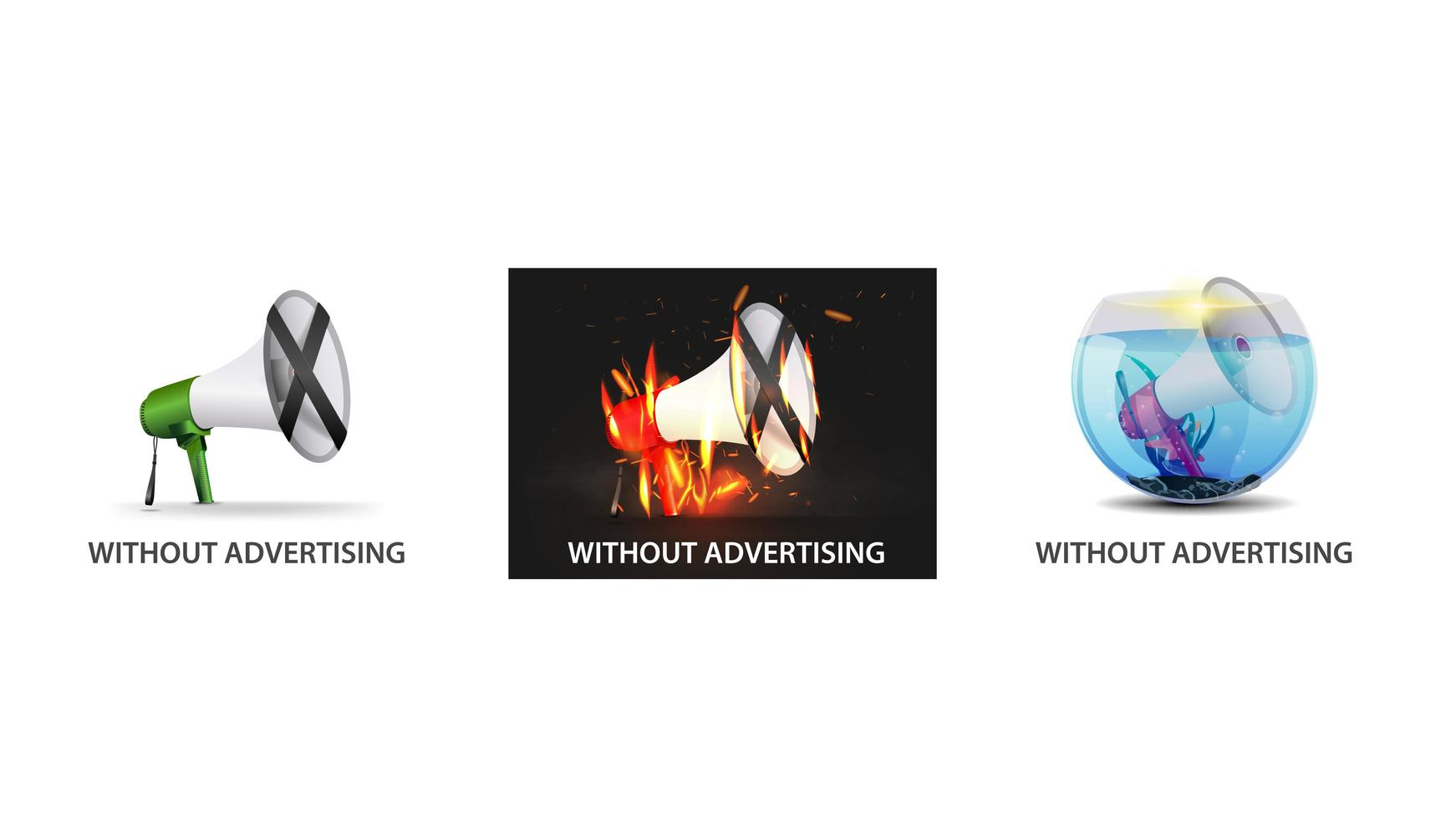 inga annonser Ikonuppsättning vektor