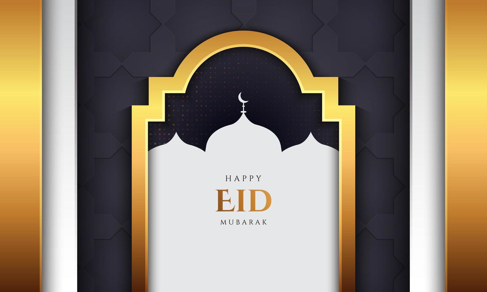 eid mubarak design med gyllene lyxstil vektor