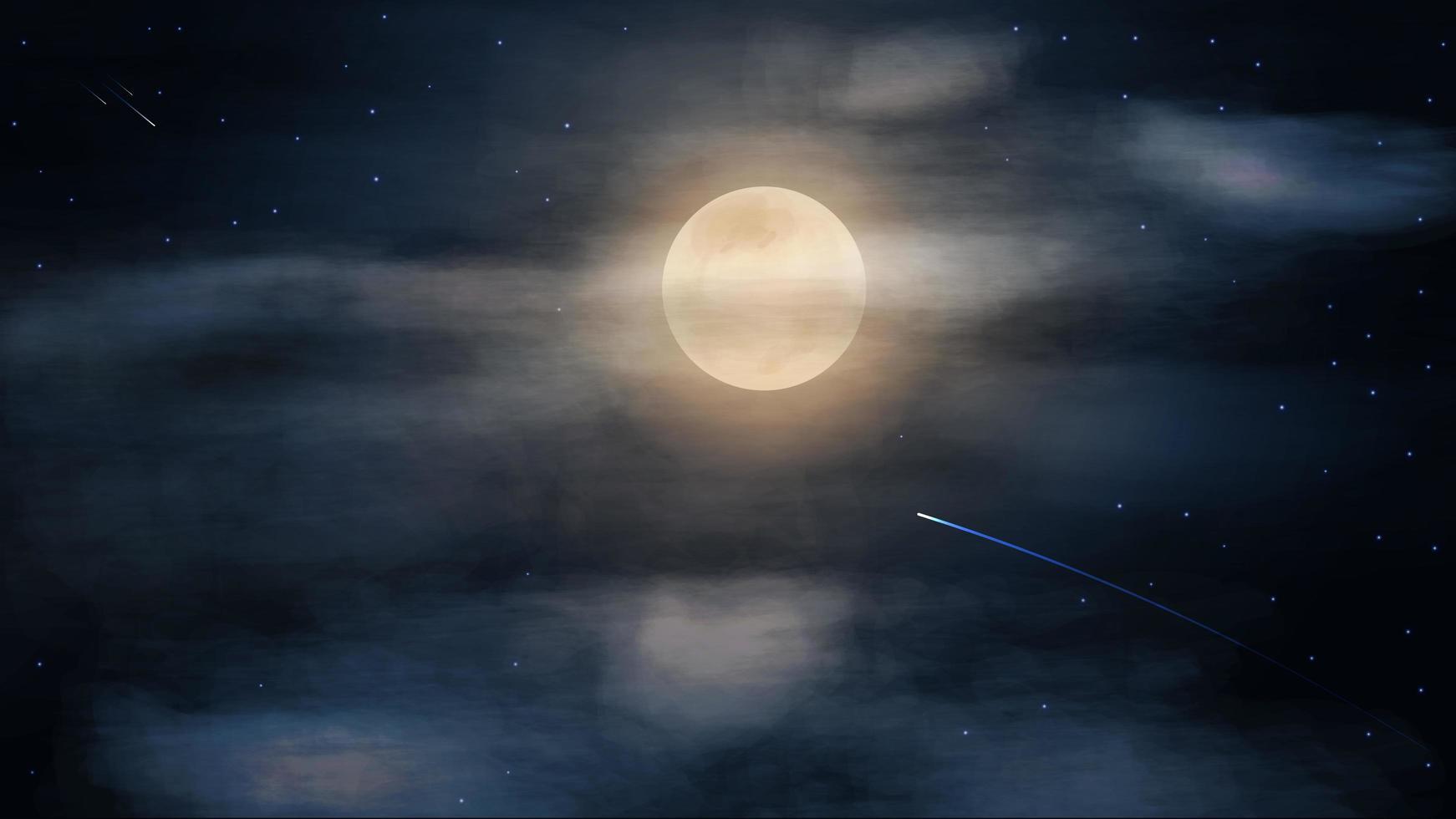 blå stjärnklar natthimmel med stor fullmåne i moln vektor