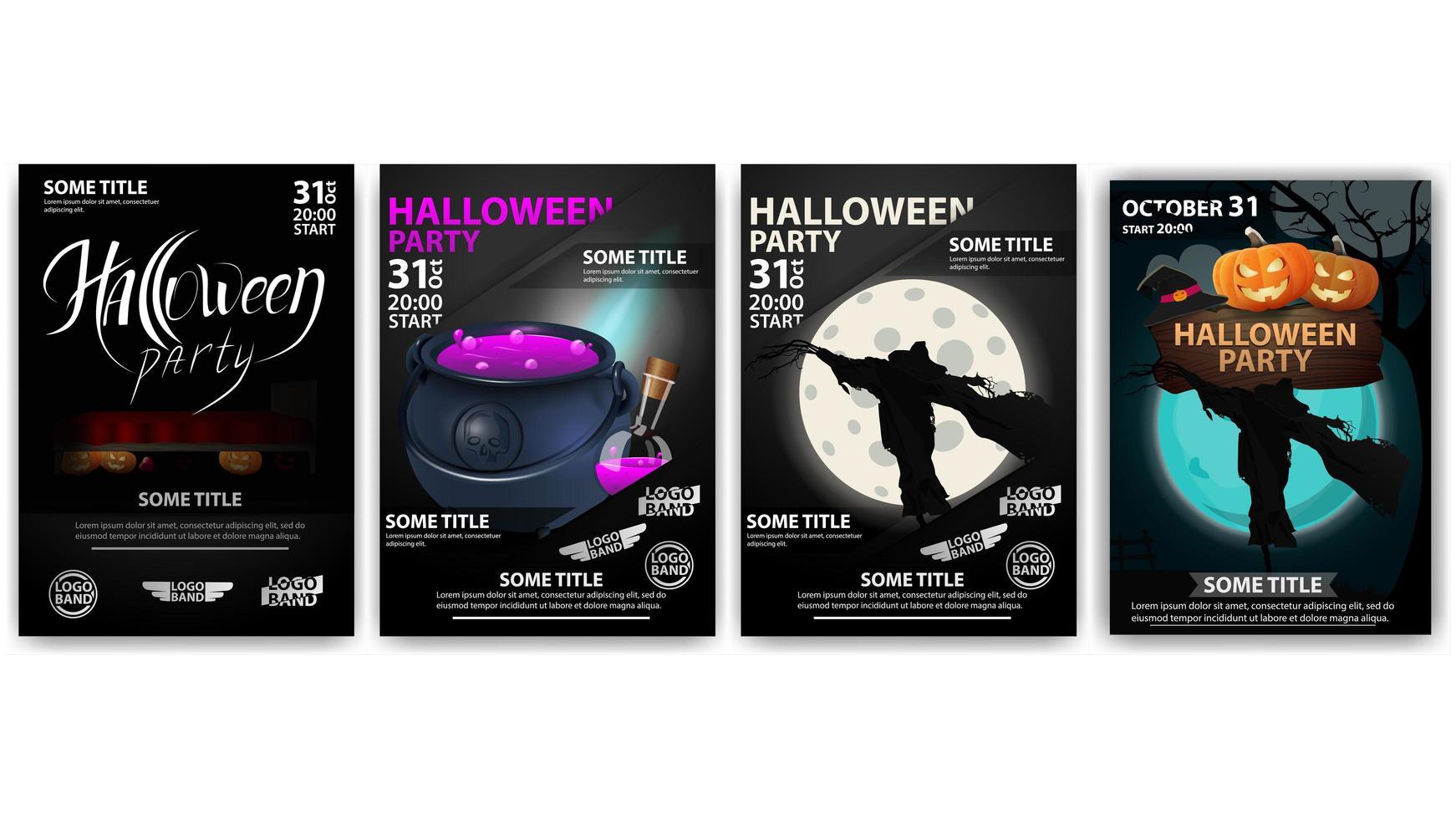Halloween-Partyplakate mit Kessel und Vogelscheuche vektor