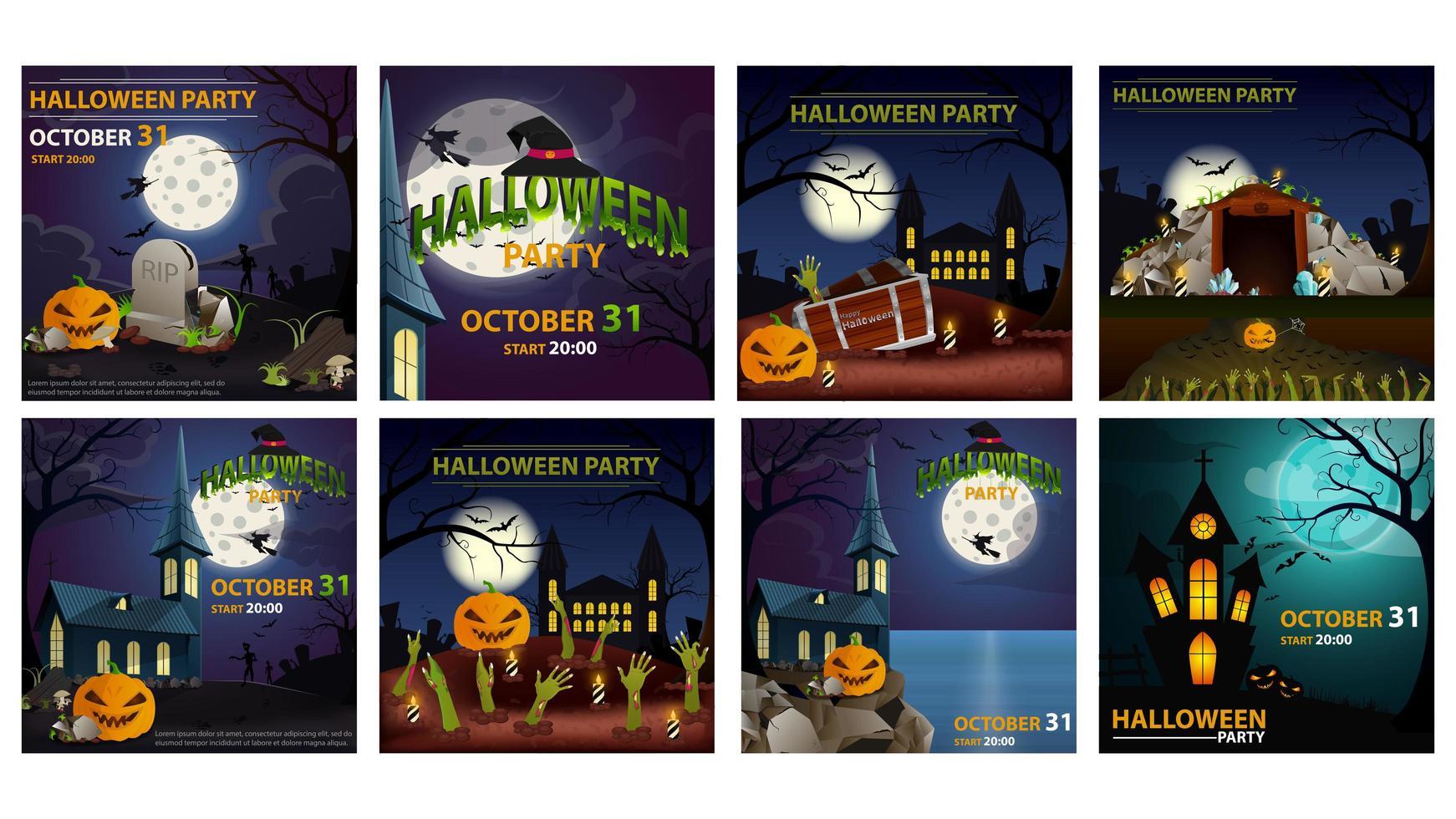halloween party kvadratisk affischuppsättning vektor