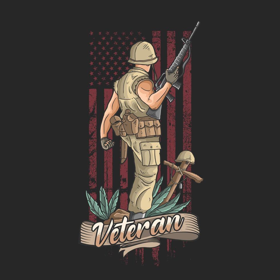 amerikanischer Veteran und Grunge-Flaggenentwurf vektor