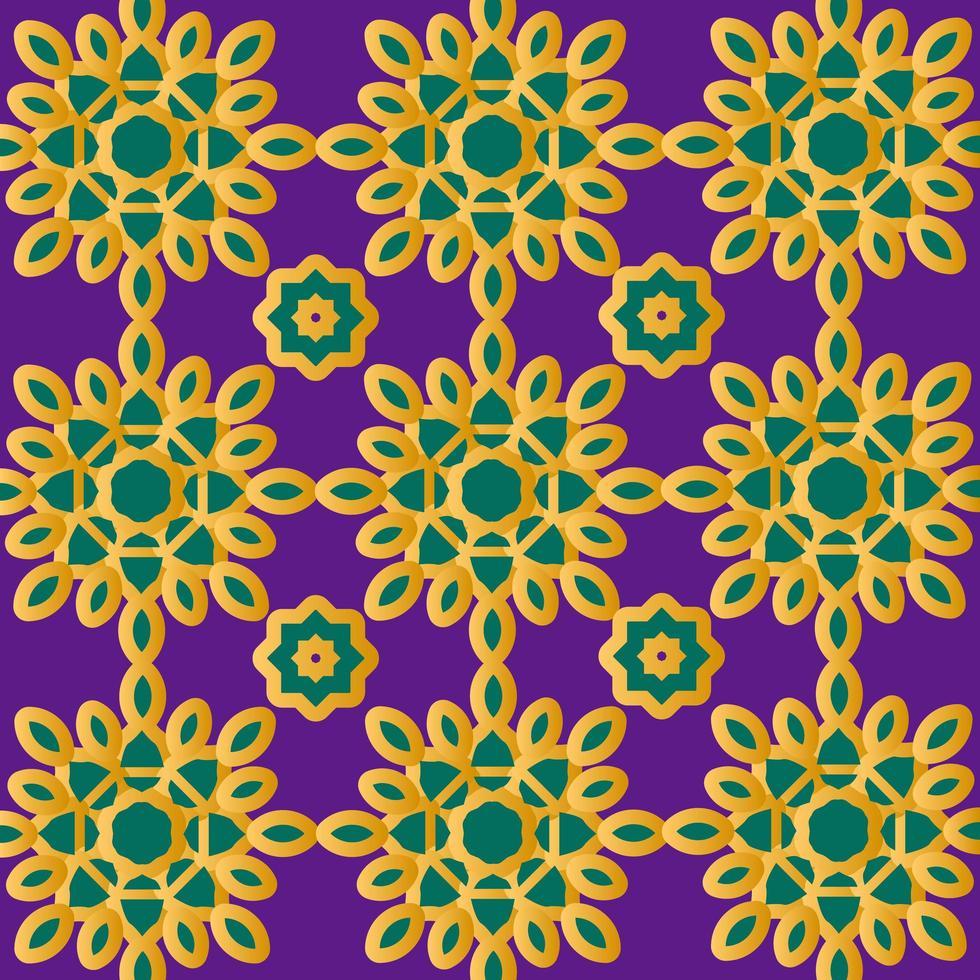 guld och grönt islamiskt eller skandinaviskt mönster vektor