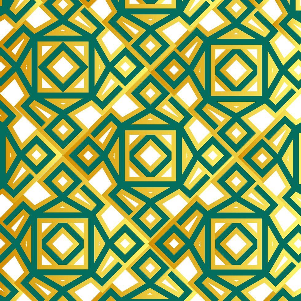 geometrisches islamisches Muster des Grüns und des Goldes vektor
