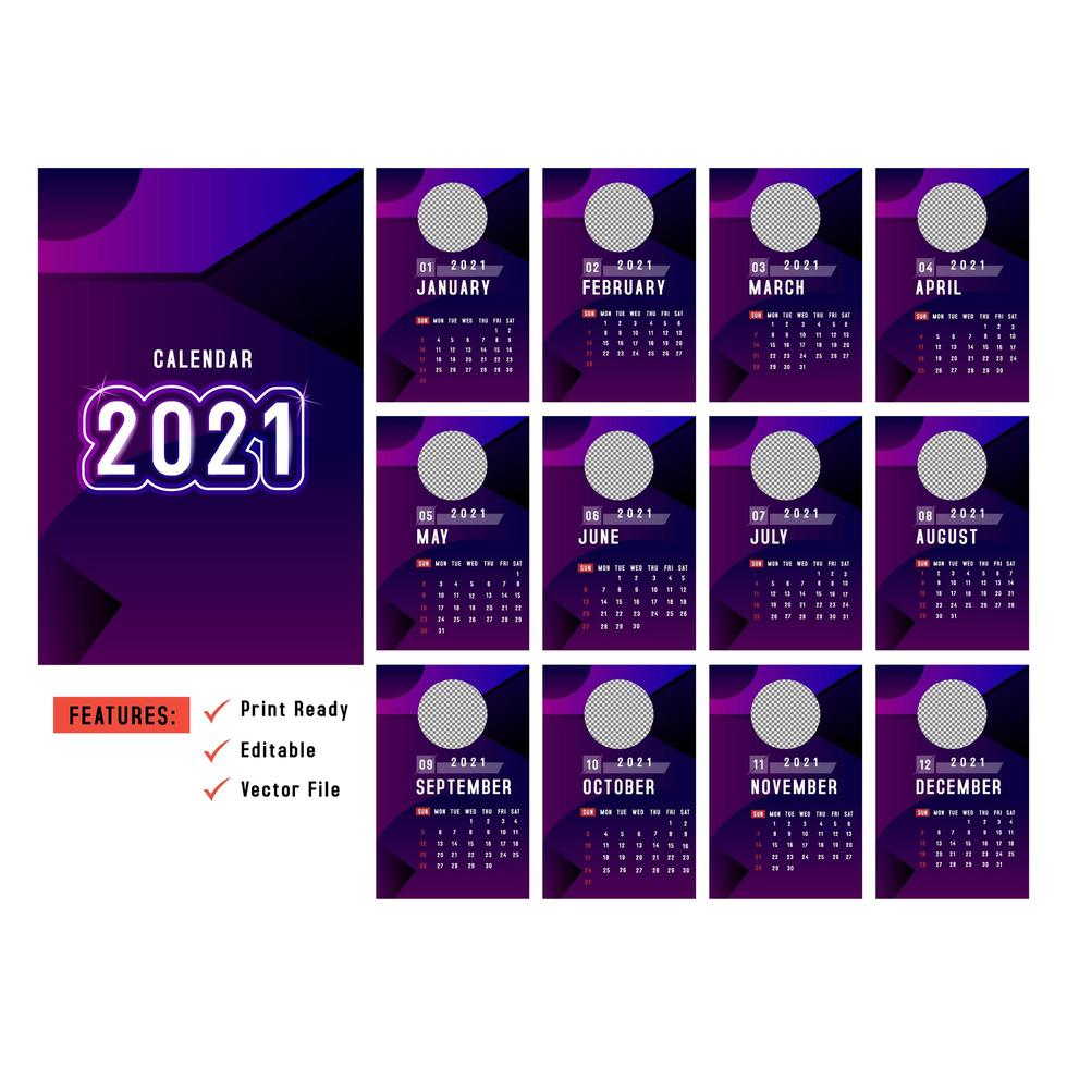 lila vertikale 2021-Kalender mit Kreisbildraum vektor