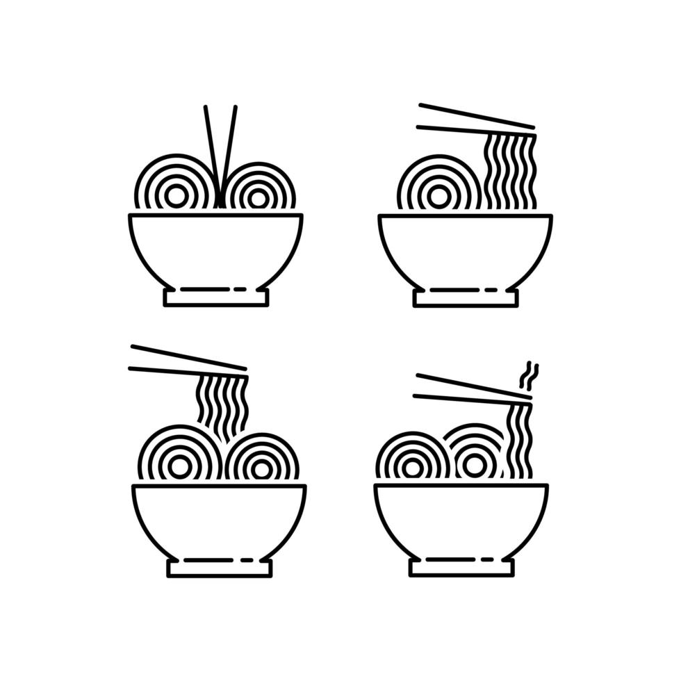 nudlar och ramen Ikonuppsättning vektor