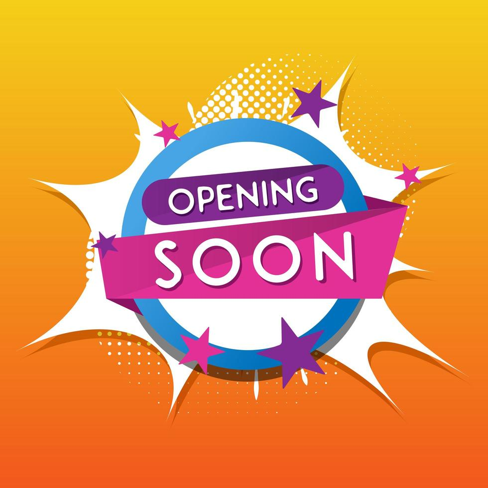 Eröffnung bald Pop Artstyle Design vektor