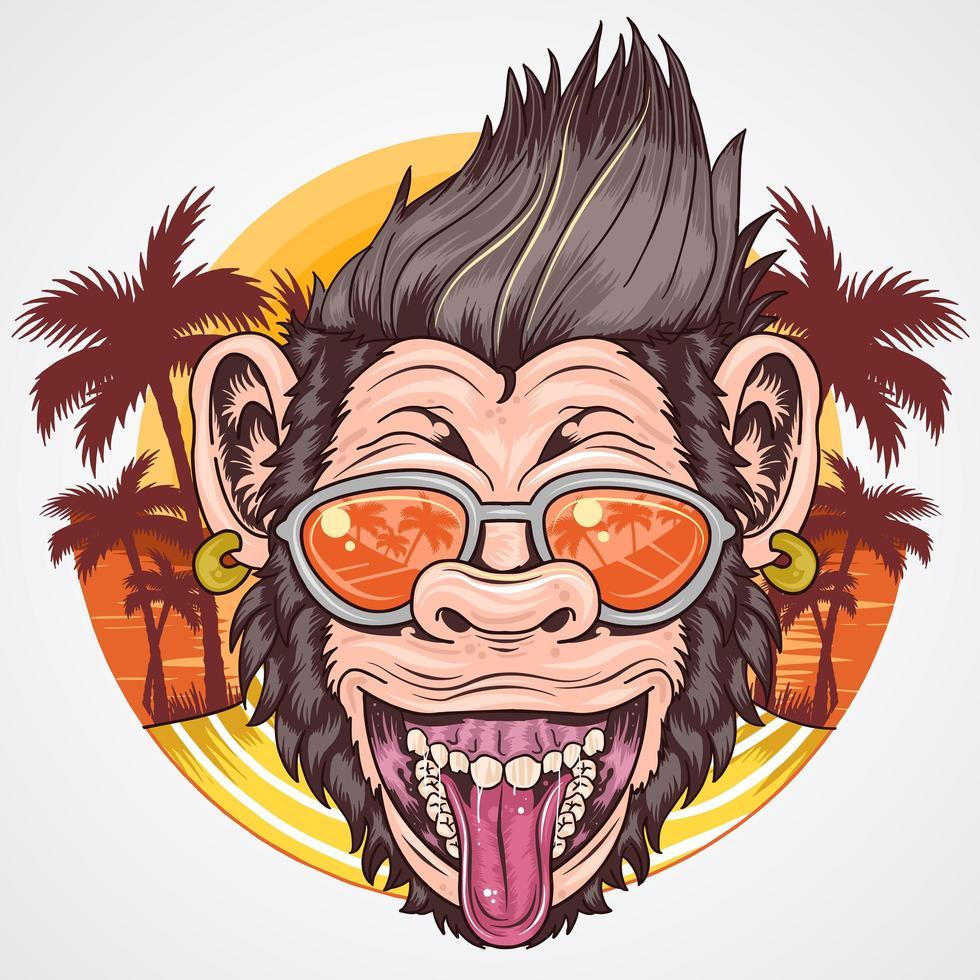 Sommerfest Schimpansen Design vektor