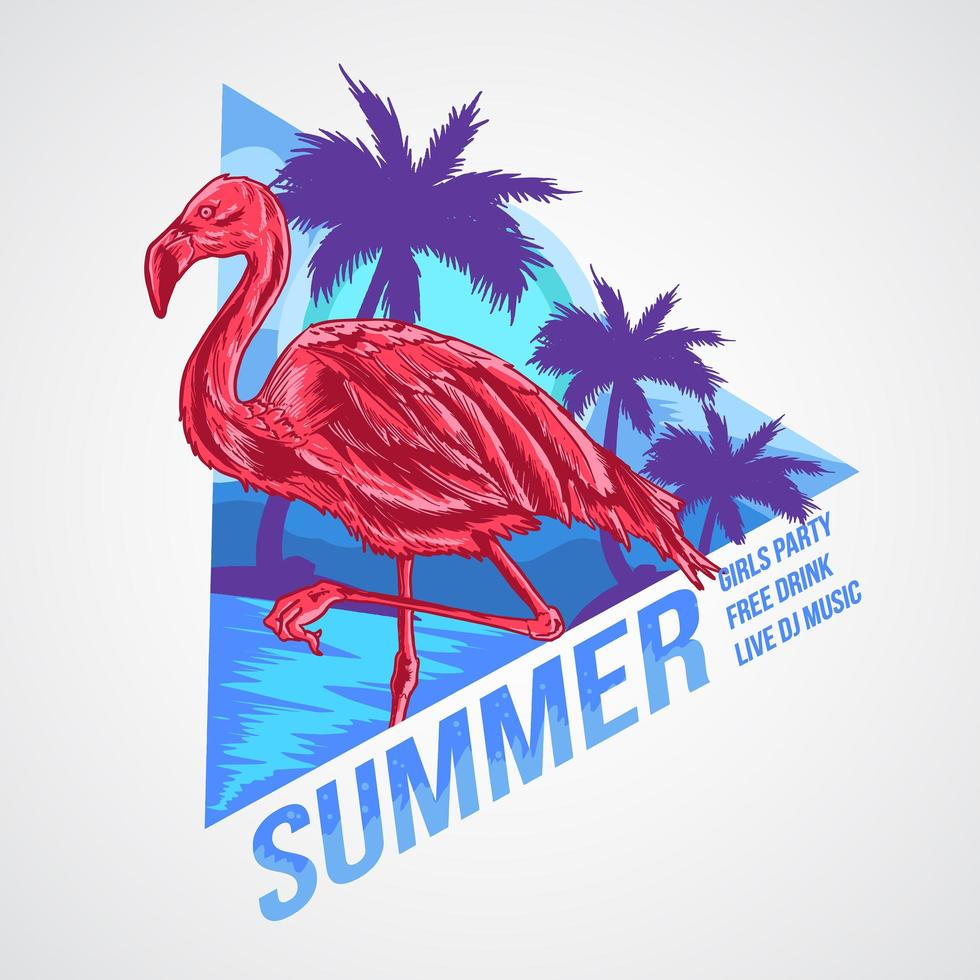 flamingo sommarfest affischdesign vektor