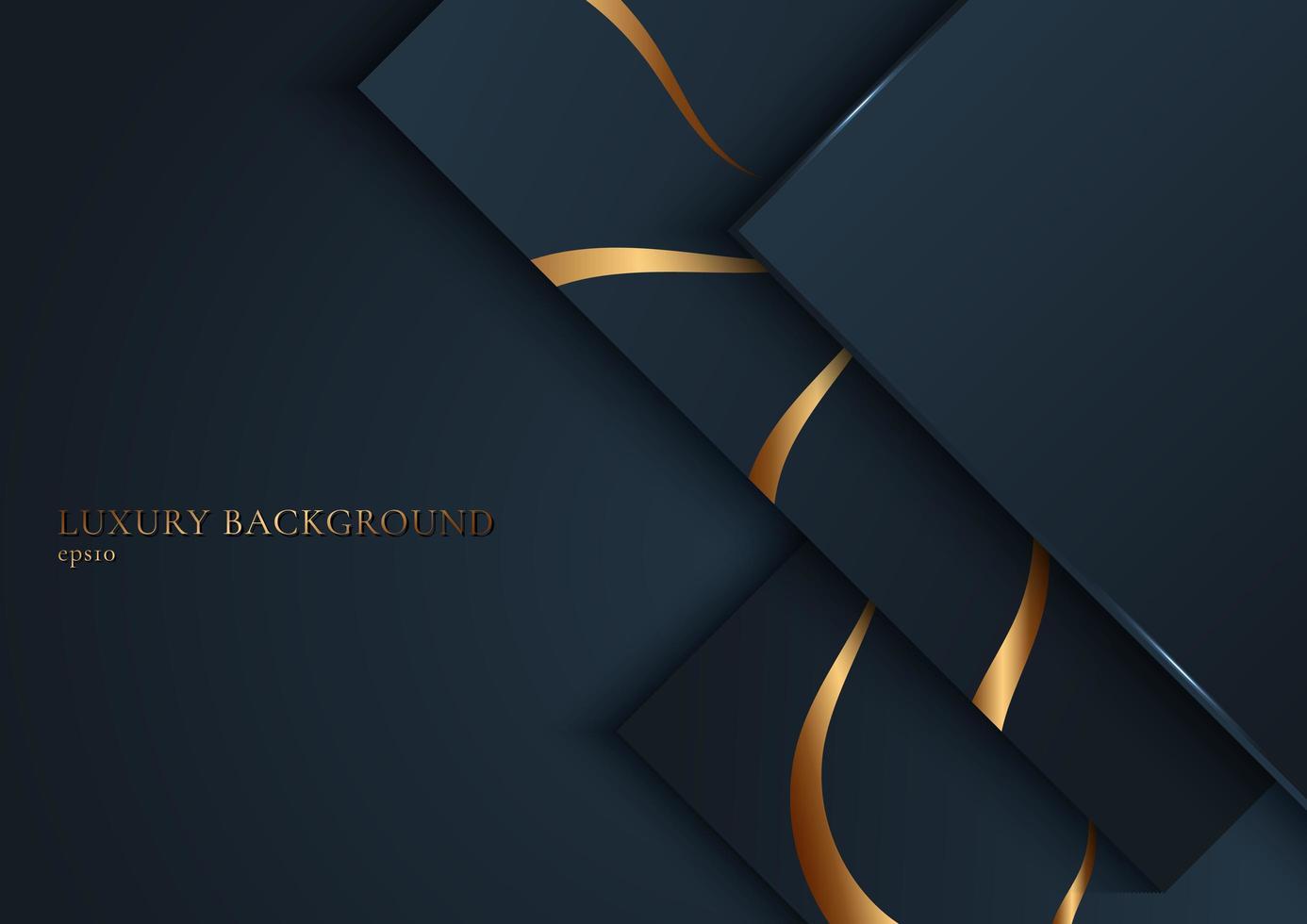 Marine quadratische Form überlappend mit goldenen Streifen gekrümmte Linie vektor