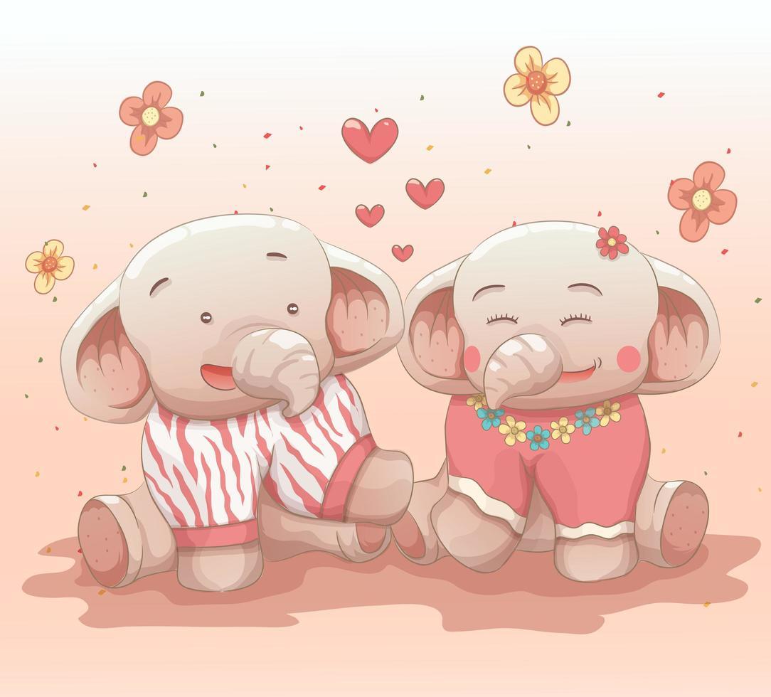 süßes Elefantenpaar verliebt vektor