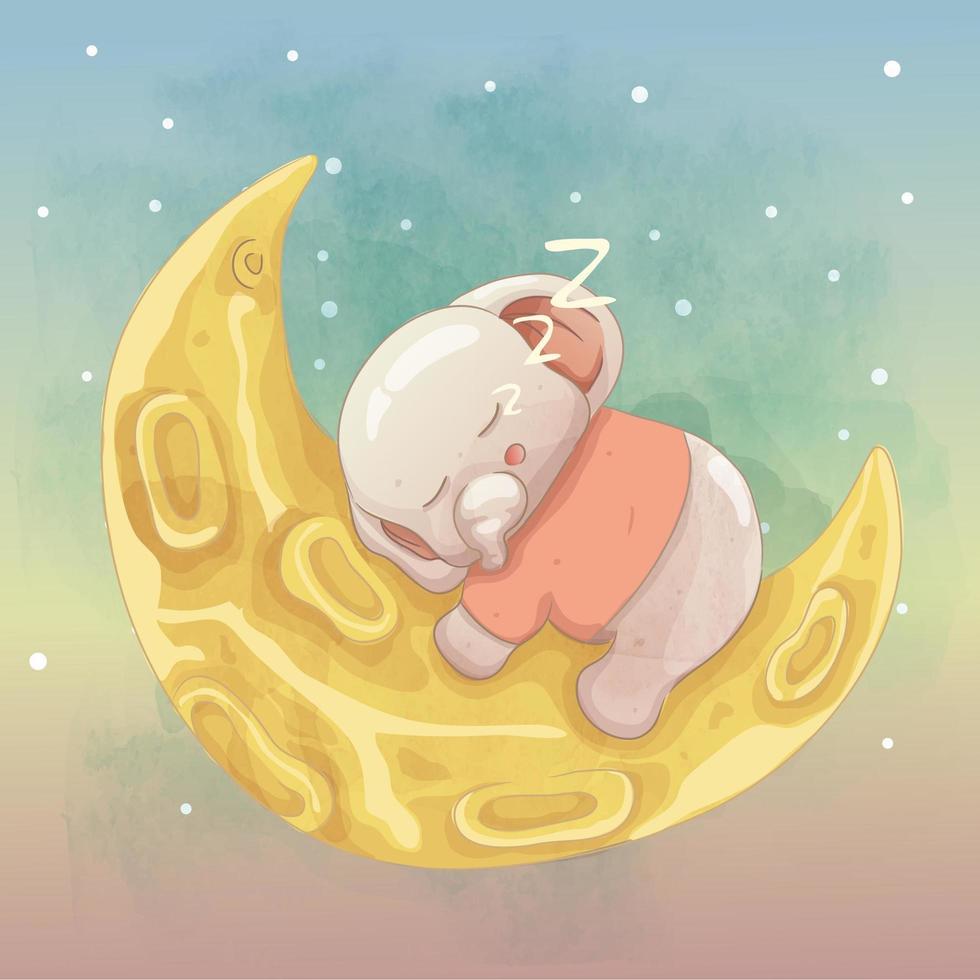 süßes Elefantenbaby, das auf dem Mond schläft vektor