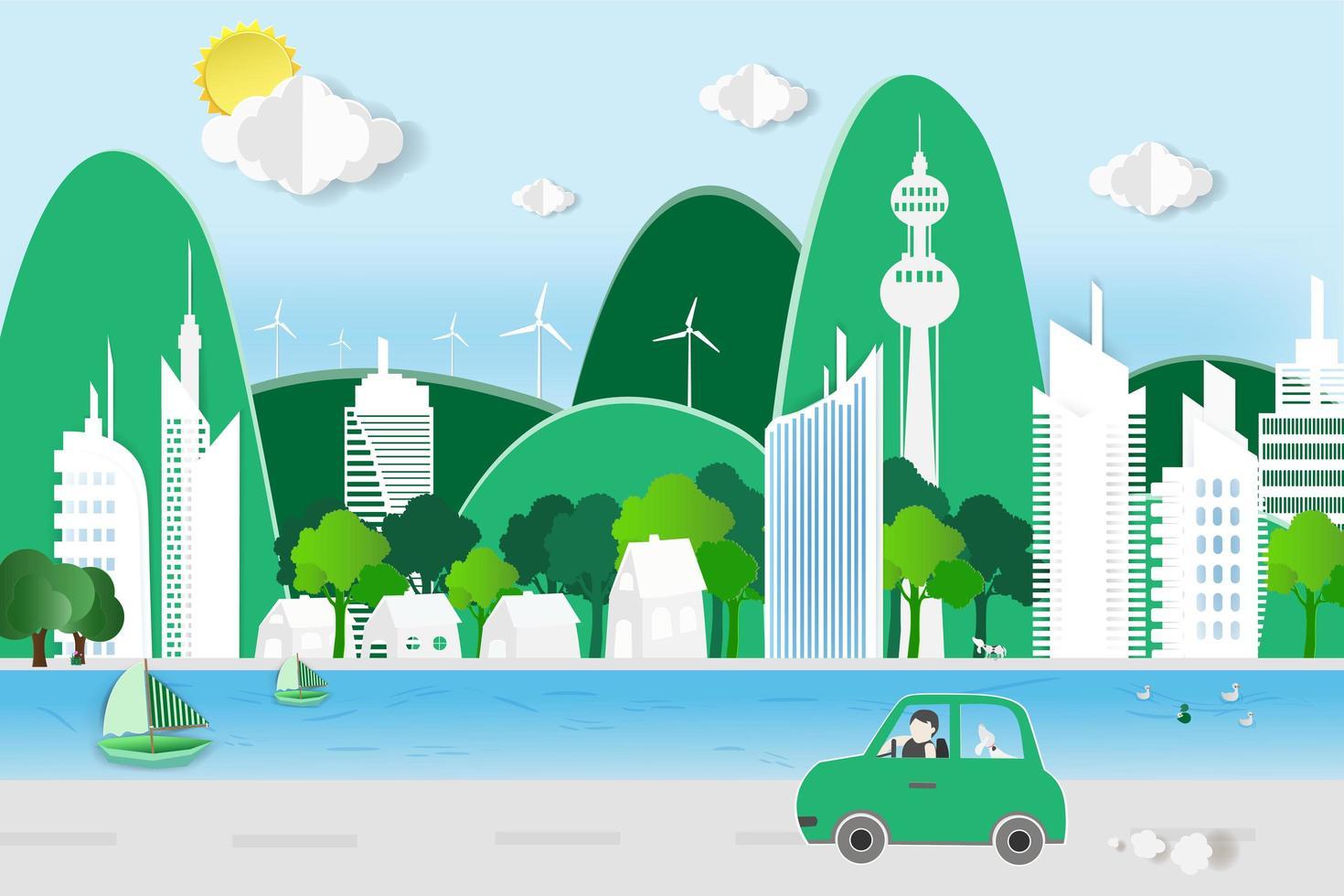 man kör i miljövänlig stad vektor