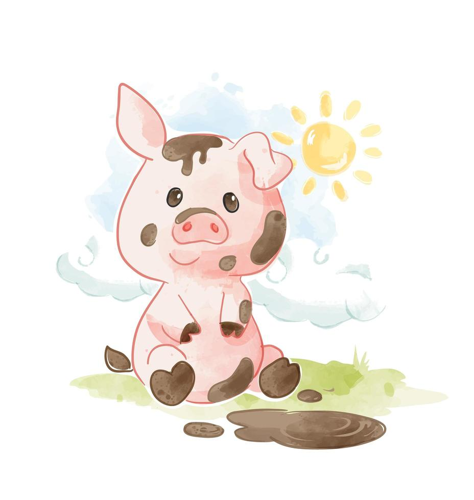 lächelndes Schwein spielt im Schlamm vektor