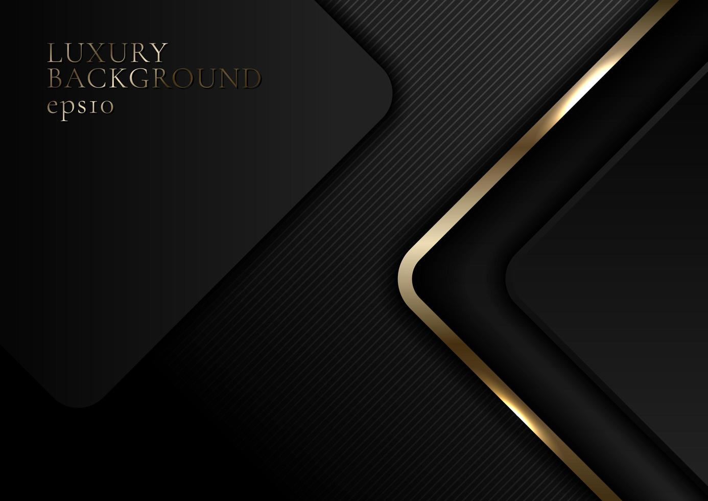 abstrakt elegant guld och svart glänsande rundad fyrkant på mörk bakgrund lyxstil vektor