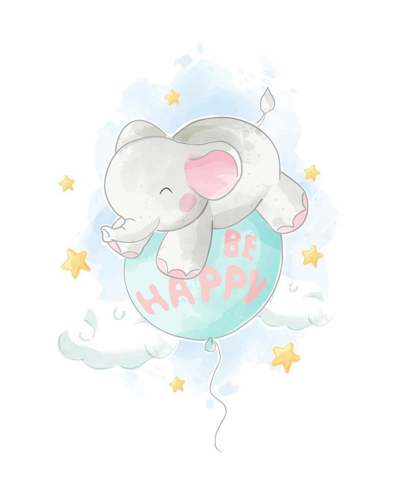 akvarell elefant på '' vara lycklig '' ballong vektor