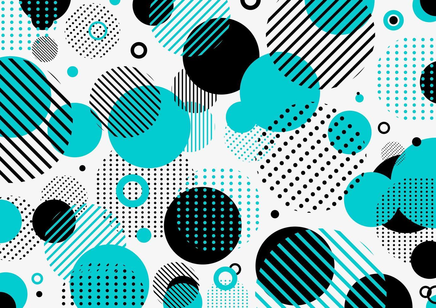 abstrakt retro 80-90-tal mönster blå och svart geometriska cirklar vektor